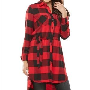 Peter Nygard Plaid Duster Tunic